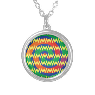 Funky Primary Colors Swirls Chevron ZigZags Design Pendants