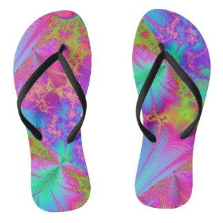 Funky Psychedelic Rainbow Colors Flip Flops Thongs