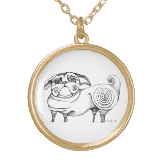 Funky Pug Sketch Charm Necklace