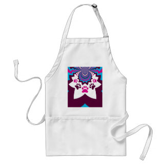 Funky Puppy Dog Paw Prints Purple Teal ZigZags Adult Apron