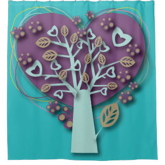 Funky Purple and Teal Heart Tree, Love and Romance Shower Curtain
