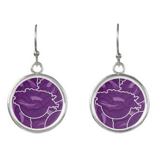 Funky purple cabbage earrings