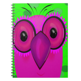 Funky Purple Cartoon Owl on Lime Green Background Spiral Notebook