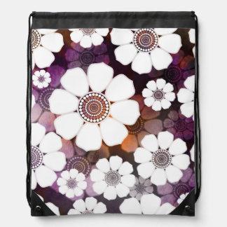 Funky Purple Flower Power Drawstring Bag
