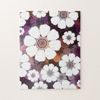 Funky Purple Flower Power Jigsaw Puzzle