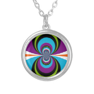 Funky Purple Teal Water Ripples Pattern Round Pendant Necklace