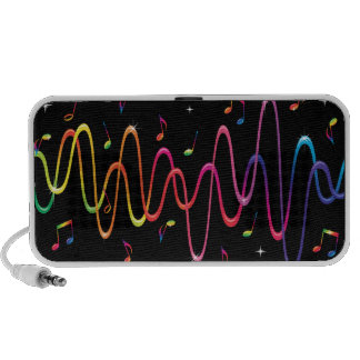 Funky rainbow coloured sound waves and musical mini speaker