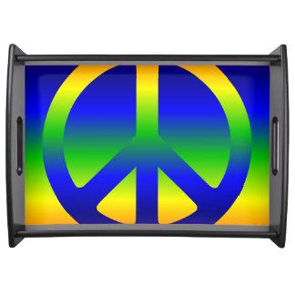 Funky Rainbow Peace Symbol Serving Platters