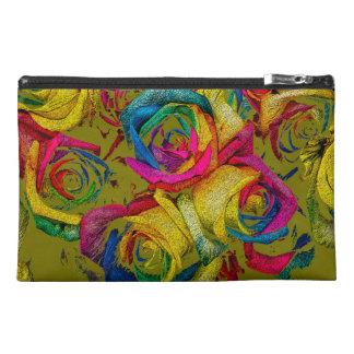 Funky Rainbow Roses Travel Accessory Bag