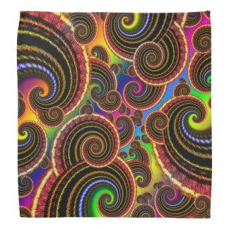 Funky Rainbow Swirl Fractal Art Pattern Bandana