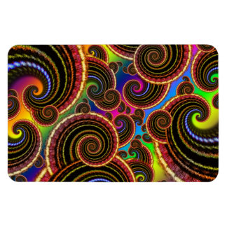 Funky Rainbow Swirl Fractal Art Pattern Rectangle Magnet