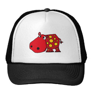Funky Red and Yellow Hippo Art Mesh Hats