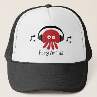 Funky Red DJ Jellyfish Party Animal Customizable Trucker Hat