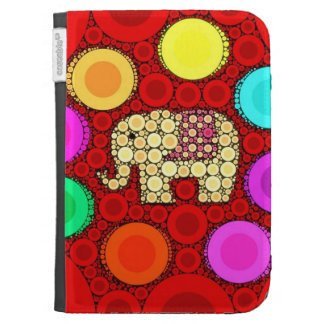 Funky Red Elephant Concentric Circles Mosaic Kindle Cases