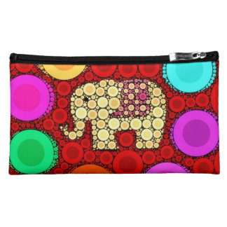Funky Red Elephant Concentric Circles Mosaic Cosmetics Bags