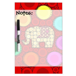 Funky Red Elephant Concentric Circles Mosaic Dry Erase Whiteboards