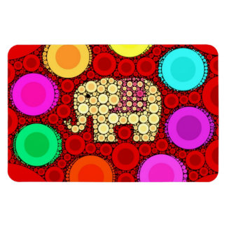 Funky Red Elephant Concentric Circles Mosaic Flexible Magnets