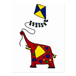 Funky Red Elephant Flying Kite Postcard