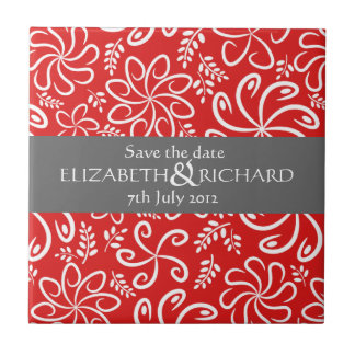 Funky red flowers and leaves Save the date Tile