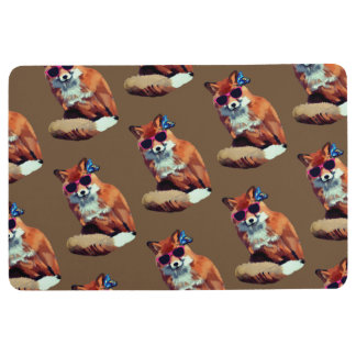 Funky Red Fox Woodland  Floor Mat