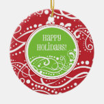Funky Red & Green Swirl Christmas Ornaments