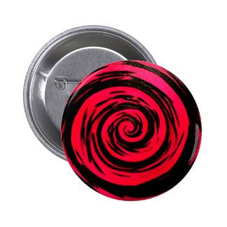 Funky Red Hypnotic Swirl Art 6 Cm Round Badge