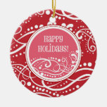 Funky Red & Pink Swirl Christmas Ornaments