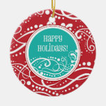 Funky Red & Teal Swirl Christmas Ornaments
