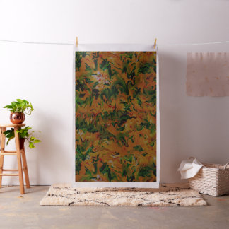 Funky Retro Abstract Tangerine Orange Green Fabric