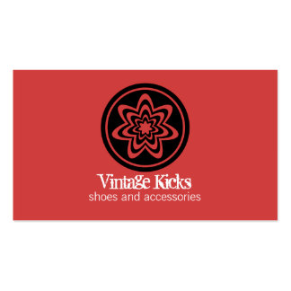 Funky Retro Bloom Business Card, Red
