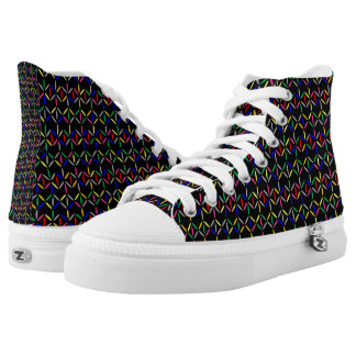 funky retro bold on black high tops