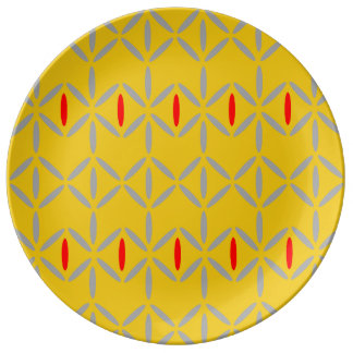 funky retro bold on mustard plate