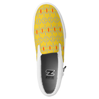 funky retro bold on mustard slip on shoe