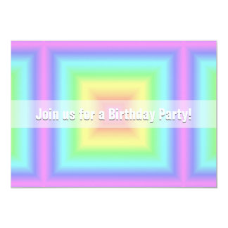 Funky Retro Bright Pastel Rainbow Geometric Blur 13 Cm X 18 Cm Invitation Card