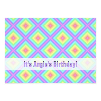 Funky Retro Bright Pastel Rainbow Geometric Blur 5x7 Paper Invitation Card