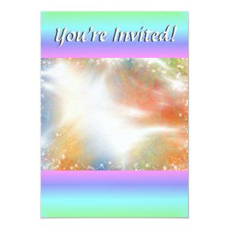 "Funky Retro Bright Pastel Rainbow Geometric Blur 5"" X 7"" Invitation Card"