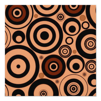 Funky Retro Circles Pattern Brown Personalized Announcements