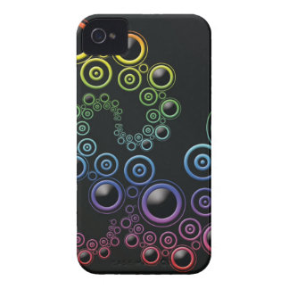 Funky Retro Circles Pattern in Rainbow Colors Case-Mate iPhone 4 Case