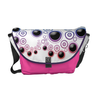 Funky Retro Circles Pattern in Rainbow Colors Courier Bags