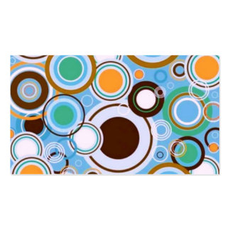 Funky Retro Circles Pattern Teal Aqua Brown Business Card Template