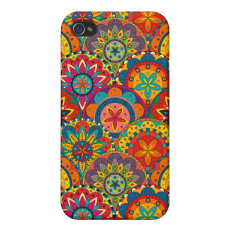 Funky Retro Colorful Mandala Pattern Cases For iPhone 4