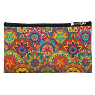 Funky Retro Colorful Mandala Pattern Cosmetic Bag