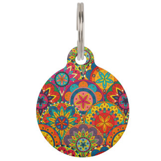 Funky Retro Colorful Mandala Pattern Pet Name Tag