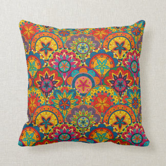 Funky Retro Colourful Mandala Pattern Cushion