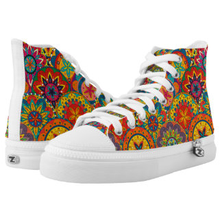Funky Retro Colourful Mandala Pattern High Tops