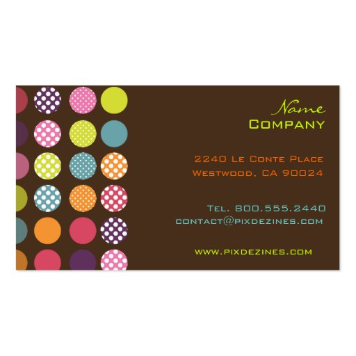 Funky retro dots dots/ DIY background color Business Card Template
