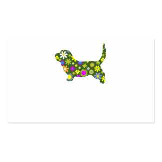 Funky retro floral basset hound business card