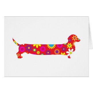 Funky retro floral cartoon dachshund dog blank greeting card