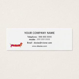 Funky retro floral cartoon dachshund dog custom mini business card