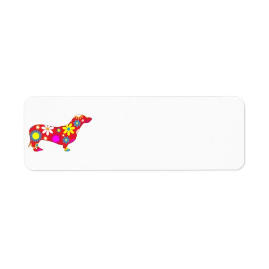 Funky retro floral dachshund dog custom return address label